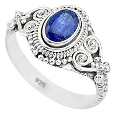 1.41cts solitaire natural blue sapphire 925 sterling silver ring size 9 t5486