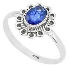 1.36cts solitaire natural blue sapphire 925 sterling silver ring size 9 t5498