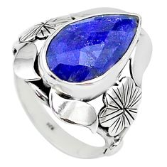 6.88cts solitaire natural blue sapphire 925 sterling silver ring size 7.5 t10286