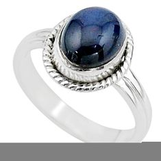 4.10cts solitaire natural blue sapphire 925 sterling silver ring size 7.5 t15450