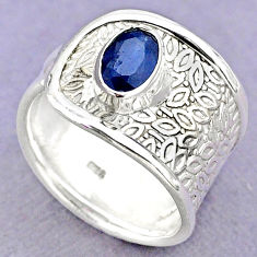1.57cts solitaire natural blue sapphire 925 sterling silver ring size 8.5 t32412
