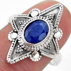 2.19cts solitaire natural blue sapphire 925 sterling silver ring size 8.5 t46604
