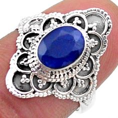 1.99cts solitaire natural blue sapphire 925 sterling silver ring size 6.5 t46622