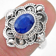 1.91cts solitaire natural blue sapphire 925 sterling silver ring size 7.5 t46645