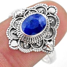 1.91cts solitaire natural blue sapphire 925 sterling silver ring size 9.5 t46662