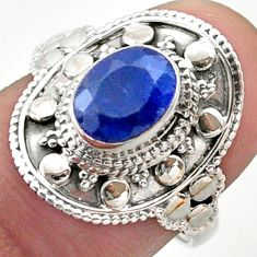 2.02cts solitaire natural blue sapphire 925 sterling silver ring size 7.5 t46687
