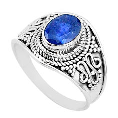 2.08cts solitaire natural blue sapphire 925 sterling silver ring size 7.5 t5156