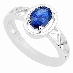 1.47cts solitaire natural blue sapphire 925 sterling silver ring size 8.5 t5202