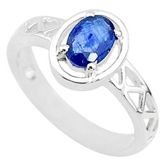 1.47cts solitaire natural blue sapphire 925 sterling silver ring size 6.5 t5211