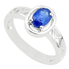 1.66cts solitaire natural blue sapphire 925 sterling silver ring size 7.5 t5212