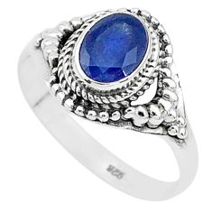 2.19cts solitaire natural blue sapphire 925 sterling silver ring size 9.5 t5294