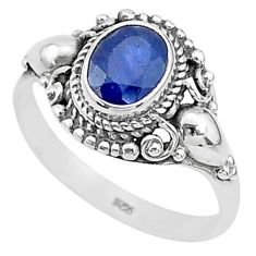 2.01cts solitaire natural blue sapphire 925 sterling silver ring size 9.5 t5336