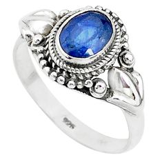 1.91cts solitaire natural blue sapphire 925 sterling silver ring size 9.5 t5356
