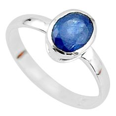 1.96cts solitaire natural blue sapphire 925 sterling silver ring size 7.5 t7313