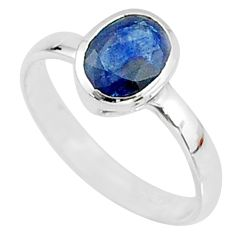 1.91cts solitaire natural blue sapphire 925 sterling silver ring size 6.5 t7314