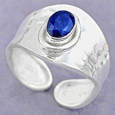 1.54cts solitaire natural blue sapphire adjustable ring size 8 t32147