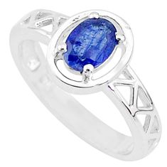 1.65cts solitaire natural blue sapphire oval 925 silver ring size 7 t5207