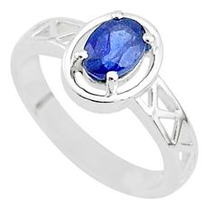 1.56cts solitaire natural blue sapphire oval shape silver ring size 6.5 t5216