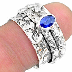 0.74cts solitaire natural blue sapphire oval silver spinner ring size 8 t31749