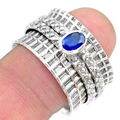 0.77cts solitaire natural blue sapphire oval silver spinner ring size 8.5 t31464