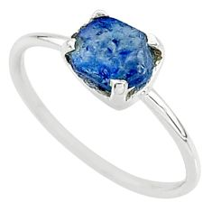 3.50cts solitaire natural blue sapphire raw 925 silver ring size 9 t7505