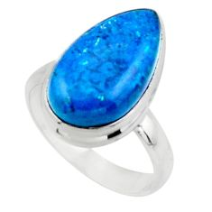 8.22cts solitaire natural blue shattuckite 925 silver ring size 8 r50644