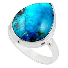 13.67cts solitaire natural blue shattuckite pear 925 silver ring size 9 r50648