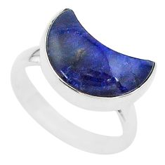 4.89cts moon natural blue sodalite 925 sterling silver ring size 6 t22042