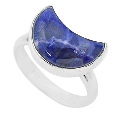 5.13cts moon natural blue sodalite 925 sterling silver ring size 7 t22057