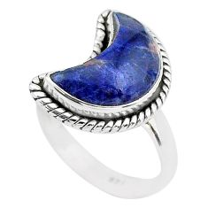 6.10cts moon natural blue sodalite 925 sterling silver ring size 7 t22171