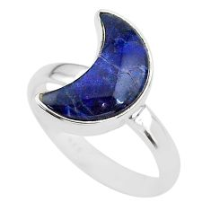 5.22cts moon natural blue sodalite 925 sterling silver ring size 8 t22048