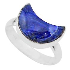 5.47cts moon natural blue sodalite 925 sterling silver ring size 8 t22059