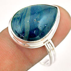 13.47cts solitaire natural blue swedish slag 925 silver ring size 10 t54536