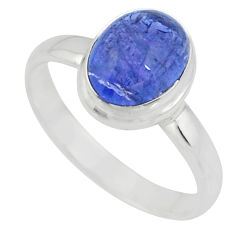 4.30cts solitaire natural blue tanzanite 925 silver ring jewelry size 9.5 r51186
