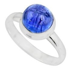 5.11cts solitaire natural blue tanzanite 925 silver ring jewelry size 9.5 r51189