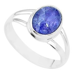 4.03cts solitaire natural blue tanzanite 925 silver ring jewelry size 8.5 t14866