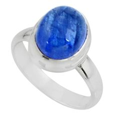 4.47cts solitaire natural blue tanzanite 925 sterling silver ring size 6 r51198