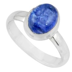 3.11cts solitaire natural blue tanzanite 925 sterling silver ring size 7 r51187