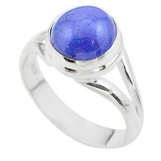 5.30cts solitaire natural blue tanzanite 925 sterling silver ring size 7 t44704