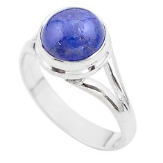 4.84cts solitaire natural blue tanzanite 925 sterling silver ring size 7 t44714