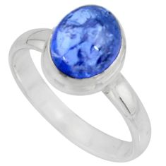 3.01cts solitaire natural blue tanzanite 925 sterling silver ring size 8 r51196