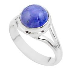 4.82cts solitaire natural blue tanzanite 925 sterling silver ring size 8 t44701