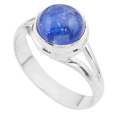 5.11cts solitaire natural blue tanzanite 925 sterling silver ring size 8 t44711