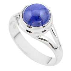 4.84cts solitaire natural blue tanzanite 925 sterling silver ring size 8 t44716