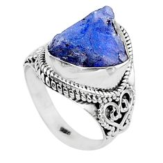 7.24cts solitaire natural blue tanzanite raw 925 silver ring size 6 t17521