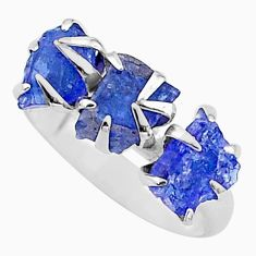 7.66cts solitaire natural blue tanzanite raw 925 silver ring size 7 t17221