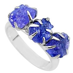 8.12cts solitaire natural blue tanzanite raw 925 silver ring size 7 t17225
