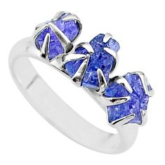 6.73cts solitaire natural blue tanzanite raw 925 silver ring size 7 t17229