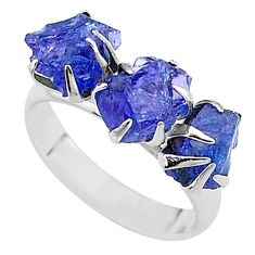 8.49cts solitaire natural blue tanzanite raw 925 silver ring size 7 t17230