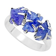 6.73cts solitaire natural blue tanzanite raw 925 silver ring size 7 t17238